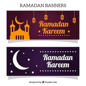 Ramadan banners met moskee en de maan
