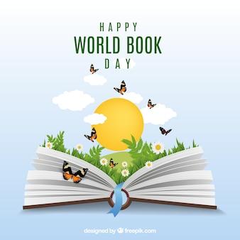 Realistische achtergrond met open boek en vlinders