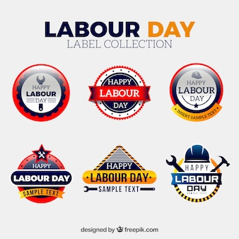 Realistische dag van de arbeid labels