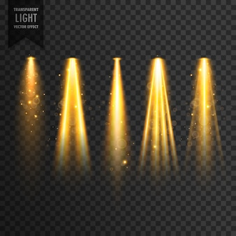 Realistische fase lichten of concert schijnwerpers vector transparant effect