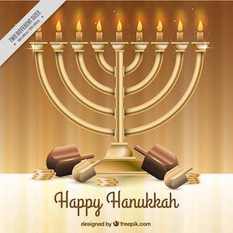 Realistische hanukkah achtergrond met kandelabers