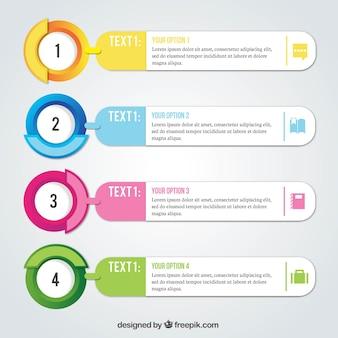 Realistische pakje van vier infographic opties