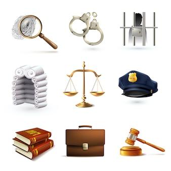 Realistische pictogrammen van rechtvaardigheid