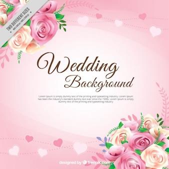 Realistische rozen met bladeren bruiloft achtergrond