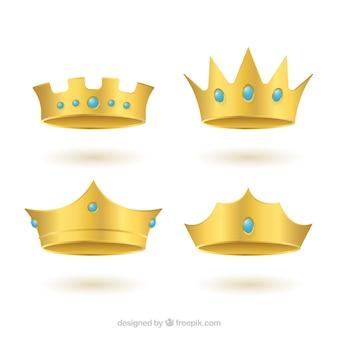 Realistische set gouden kronen