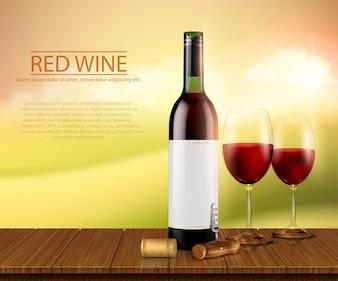 Realistische vectorillustratie, poster met glazen wijnfles en glazen met rode wijn