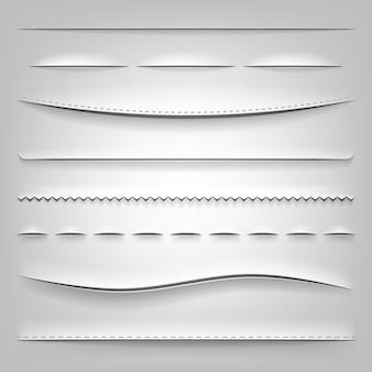 Realistische verdelers van gesneden papier