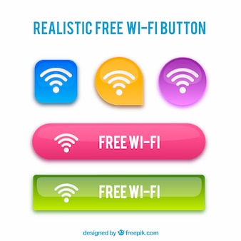 Realistische wifi knoppen met veel verschillende kleuren