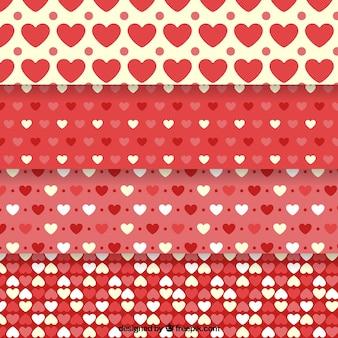 Reeks decoratieve harten patronen