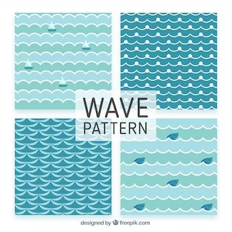 Reeks decoratieve patronen golven