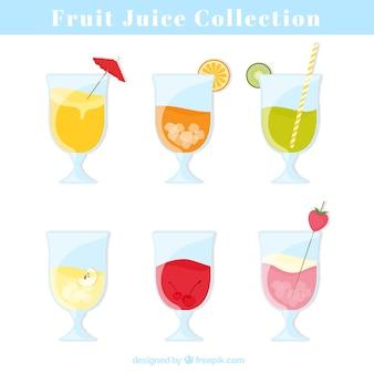 Reeks glazen met lekkere vruchtensappen