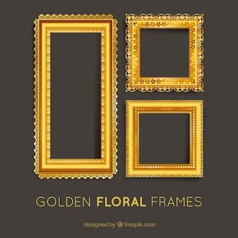 Reeks gouden bloemen frames
