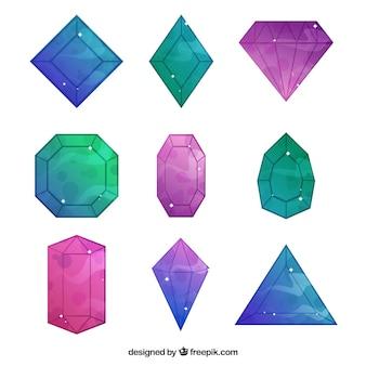 Reeks leuke diamanten met abstracte kleuren