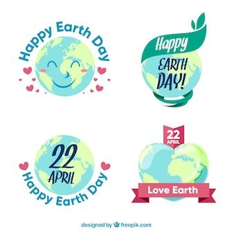 Reeks mooie aarde dag stickers