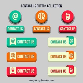 Reeks retro contact knoppen voor het web