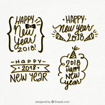 Reeks stickers van hand getekend gelukkig nieuwjaar 2018