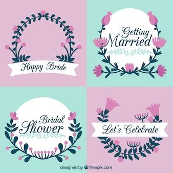 Reeks vlakke huwelijk frames met paarse bloemen