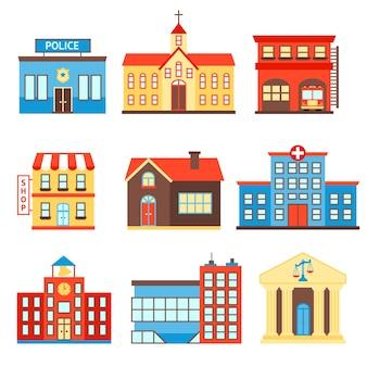 Regeringsgebouw iconen set van politie winkel kerk geïsoleerde vector illustratie