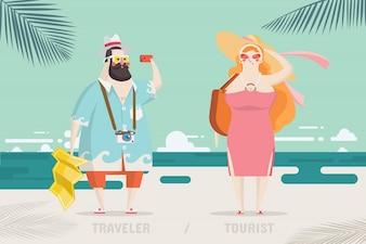 Reiziger en Toerist Karakter Ontwerp