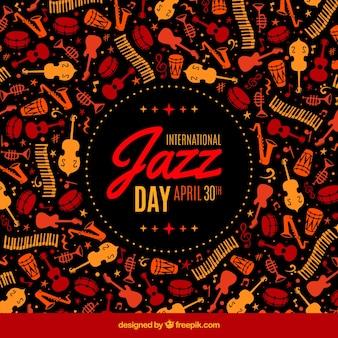 Retro achtergrond van de internationale jazz dag muziekinstrumenten