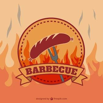 Retro barbecue vector logo