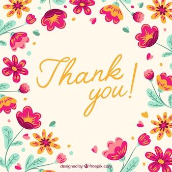 Retro bedankt achtergrond met hand getekende bloemen