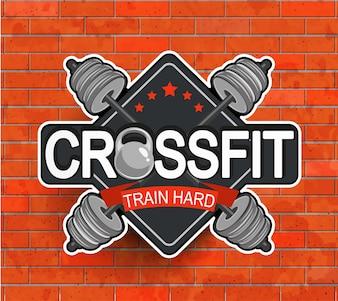 Retro gestileerde crossfit embleem.