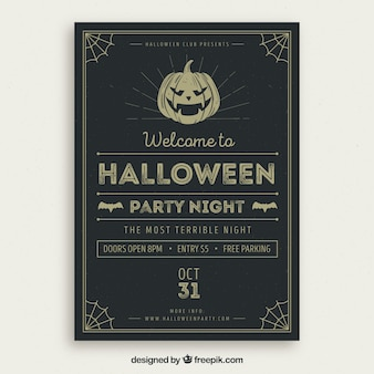 Retro halloween feest poster