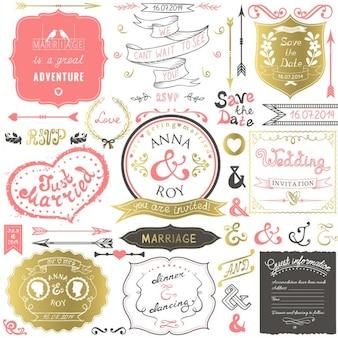 Retro hand getekende elementen voor huwelijksuitnodigingen groeten gast informatie in delicate kleuren Vector illustratie