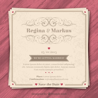 Retro huwelijksuitnodiging