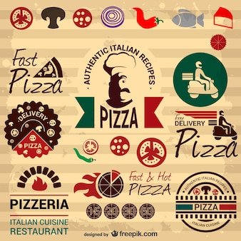 Retro Italiaanse pizza grafische elementen