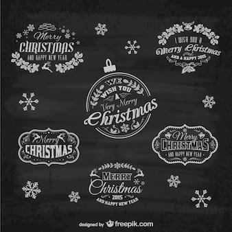 Retro Kerst labels