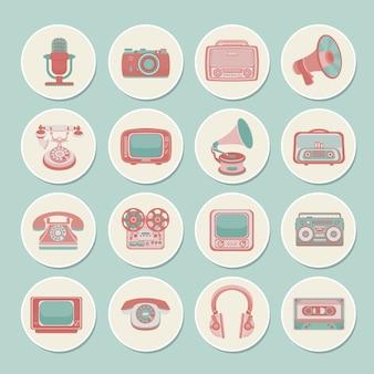 Retro media iconen