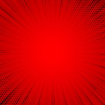 Retro rode komische achtergrond halftoon met stralen