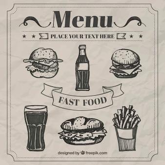 Retro schetsen voedsel