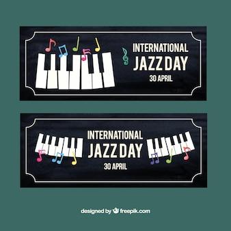 Retro-stijl jazz piano banners