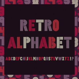 Retro strepen funky fonts settrendy elegant retro-stijl ontwerp op naadloze patroon met getallen Vector design
