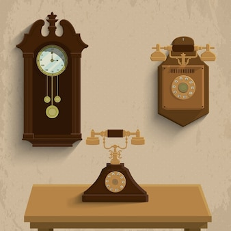 Retro telefoons en klok Vector Illustration