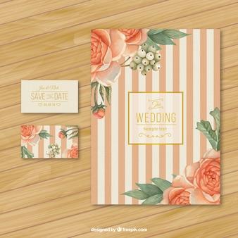 Retro trouwkaart met rozen