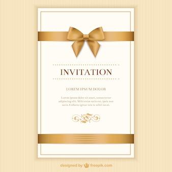 Retro uitnodigingskaart met een lint