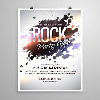 Rockmuziek flyer poster sjabloon met inkt splash