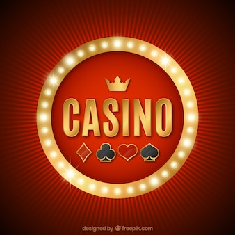 Rode achtergrond met lichtgevend casino teken