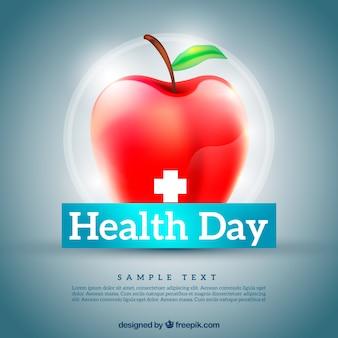 Rode appel van de gezondheid van de dag achtergrond