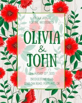 Rode bloemen bruiloft uitnodiging
