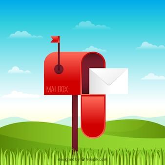 Rode brievenbus achtergrond in een landschap