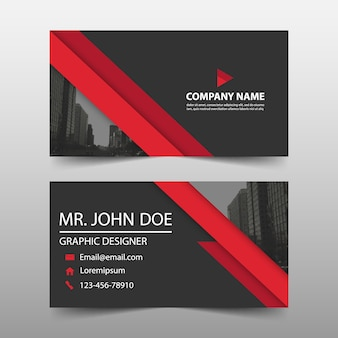 Rode driehoek corporate business card template