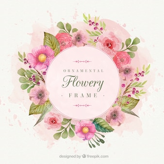 Romantische bloemen frame geschilderd met aquarellen
