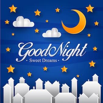 Romantische Papier Kunststijl Goede Nacht Kaart Illustratie