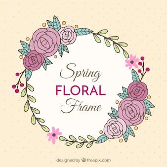 Rond frame met de hand getekende rozen