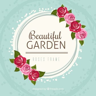 Rond frame met mooie rozen